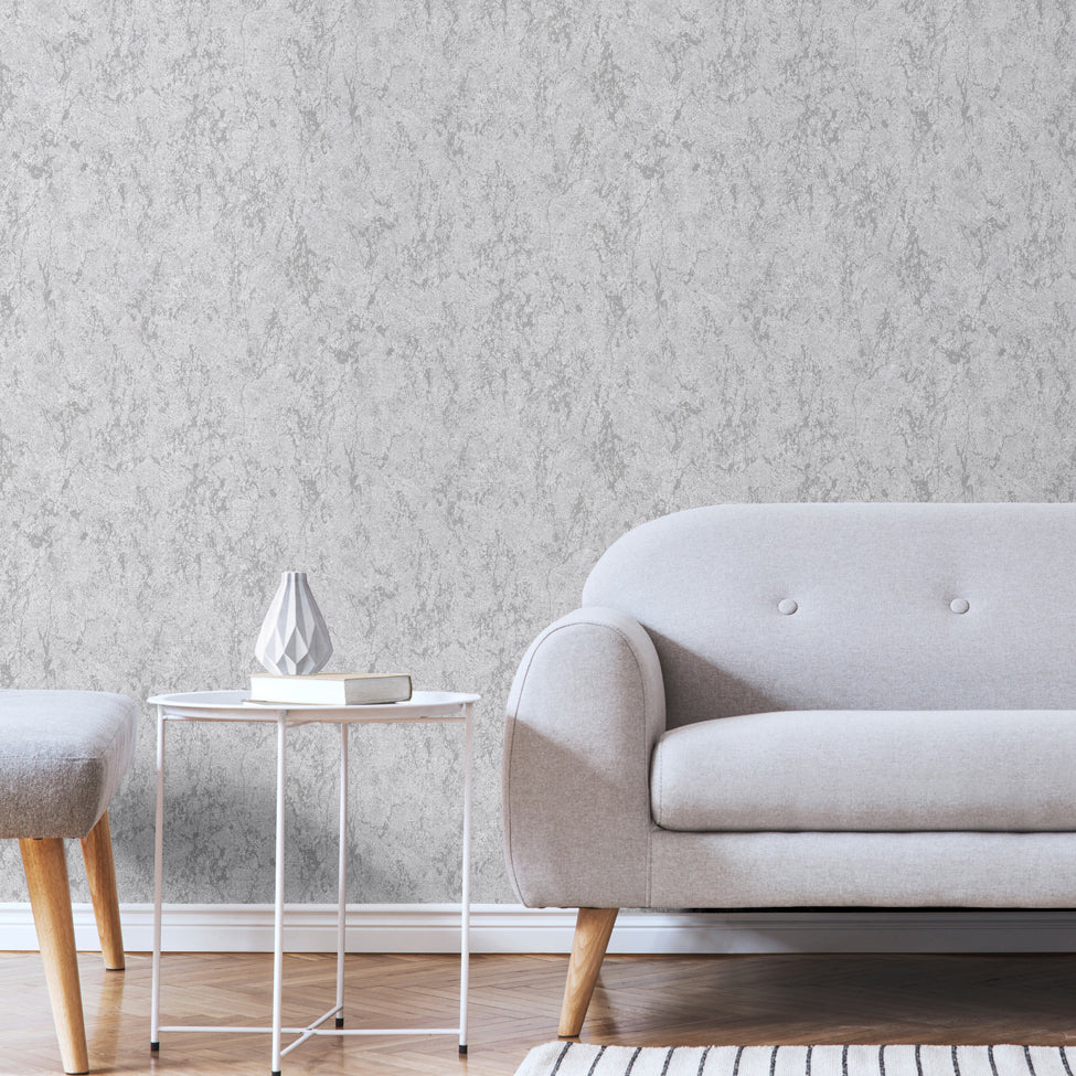 Arlo silver and grey distressed effect wallpaper in room