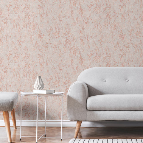 Arlo grey and rose gold distressed effect wallpaper in room