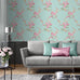 Catherine Lansfield blue and pink floral wallpaper in living room
