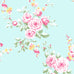 Catherine Lansfield duck egg blue and pink flower wallpaper