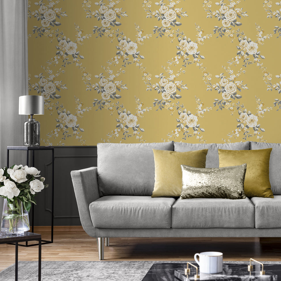 Catherine Lansfield yellow floral wallpaper in living room