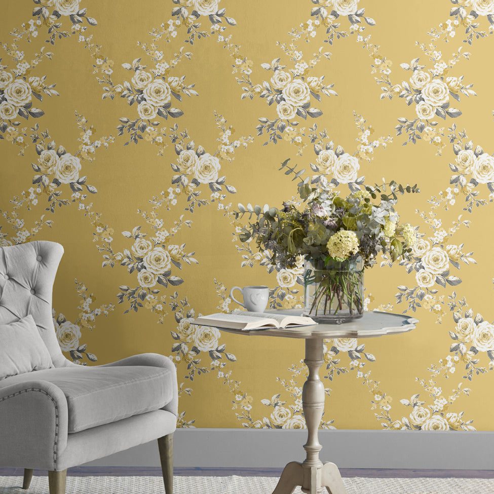 Catherine Lansfield Canterbury Grey And Yellow Floral