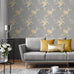 Catherine Lansfield grey and yellow floral wallpaper in living room