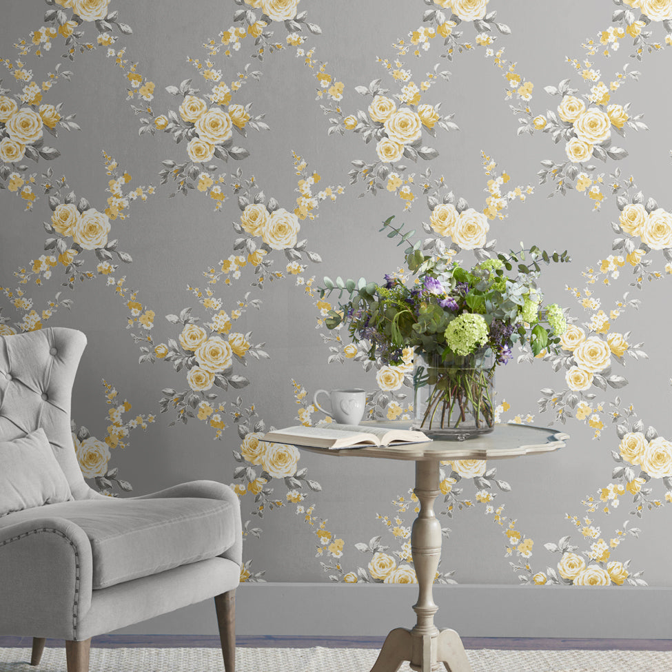 Catherine Lansfield grey and yellow flower print wallpaper in room