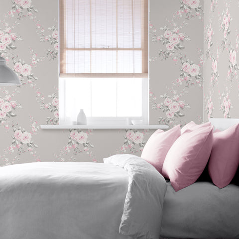 Catherine Lansfield grey and pink floral wallpaper in bedroom