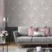 Catherine Lansfield pink and grey floral wallpaper in living room