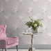 Catherine Lansfield pink and grey flower print wallpaper in room
