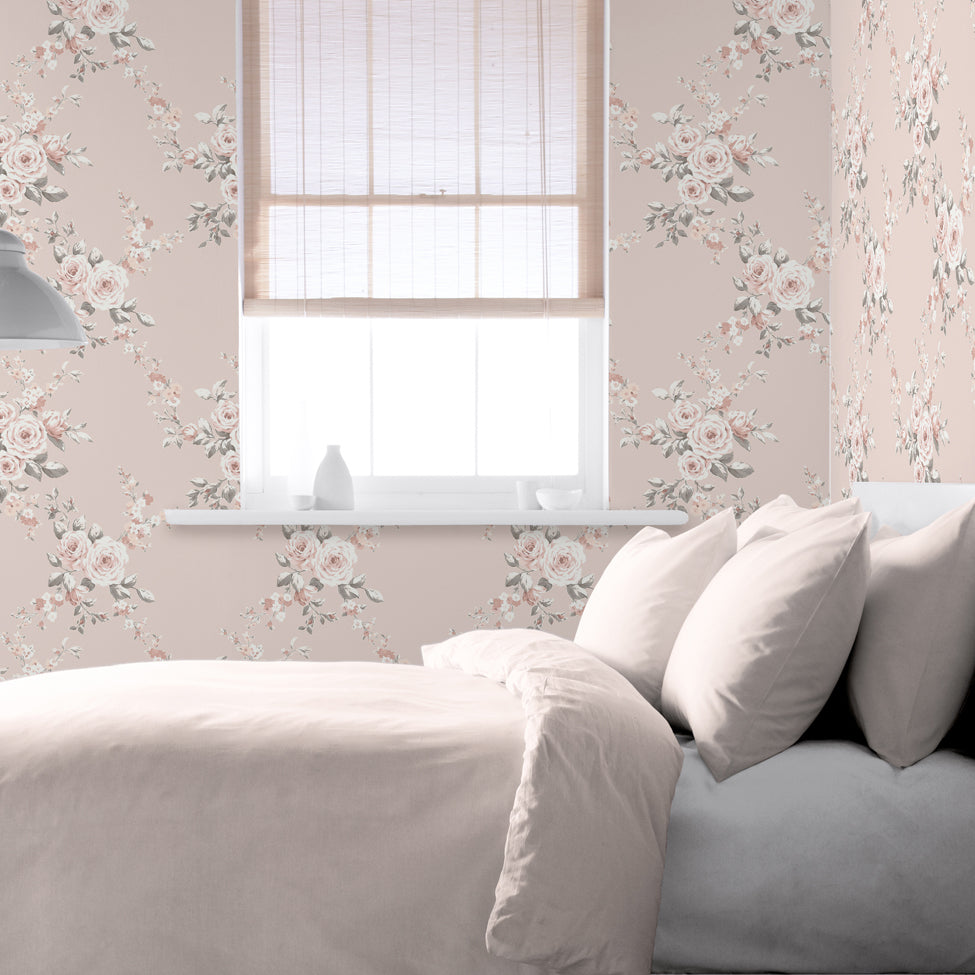 Catherine Lansfield blush pink floral wallpaper in bedroom