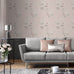 Catherine Lansfield blush pink floral wallpaper in living room