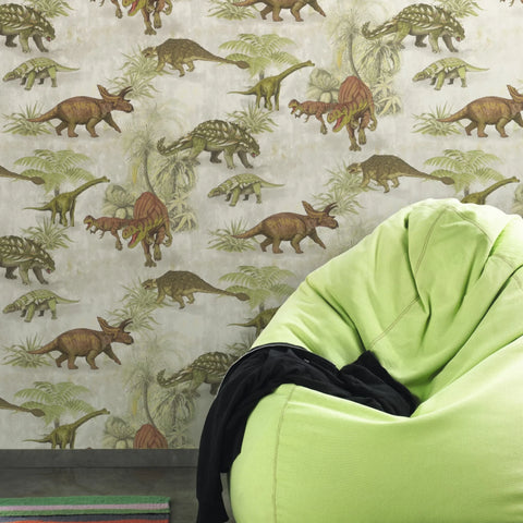 Brown and green dinosaur wallpaper in bedroom