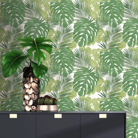 Large green jungle leaf wallpaper in room