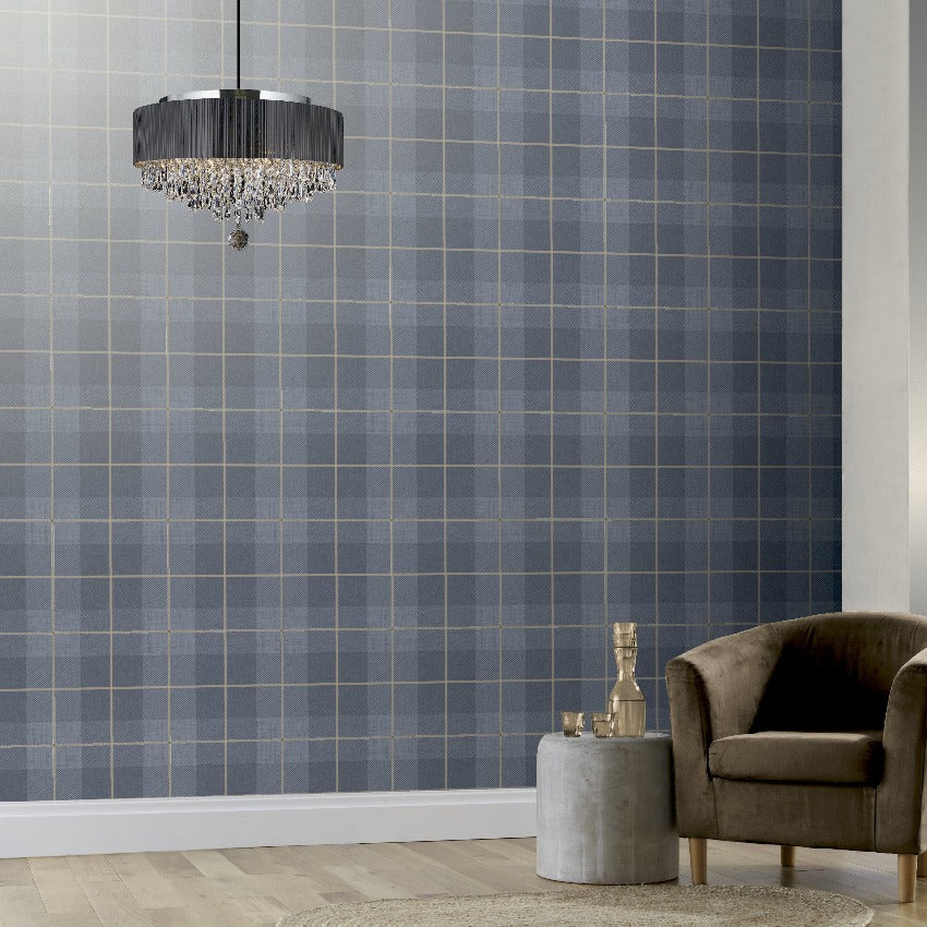Country Tartan Denim Blue Wallpaper