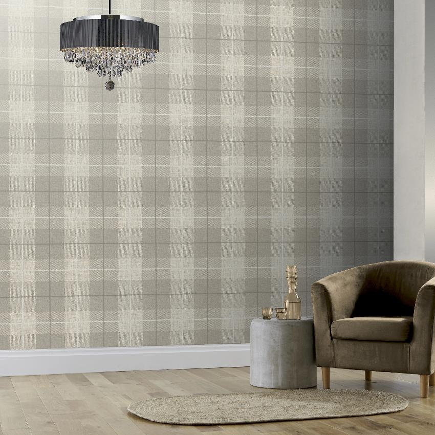 Taupe beige tartan wallpaper on heavy textured vinyl