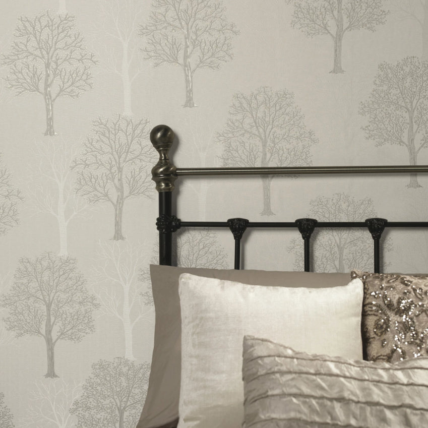 Ornella Trees Grey Wallpaper