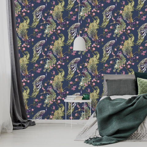 Navy blue glitter peacocks wallpaper in room