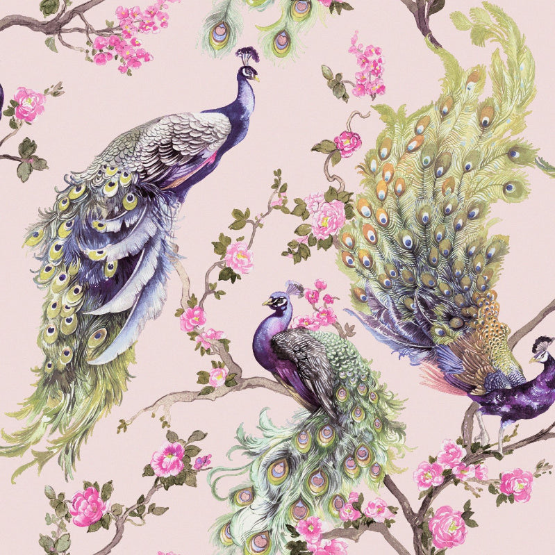 Blue and green peacocks on pink glitter wallpaper