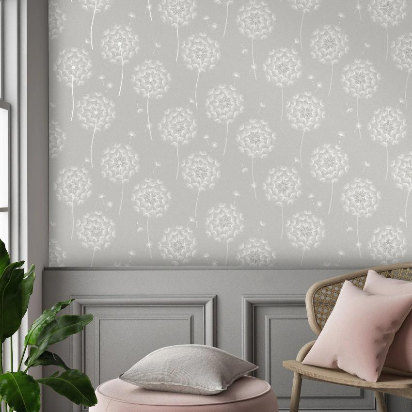 Allora Grey Dandelion Flower Wallpaper