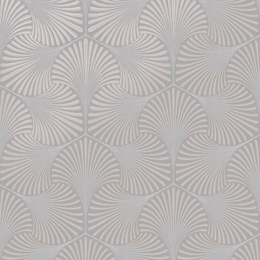 Silver and rose gold art deco wallpaper