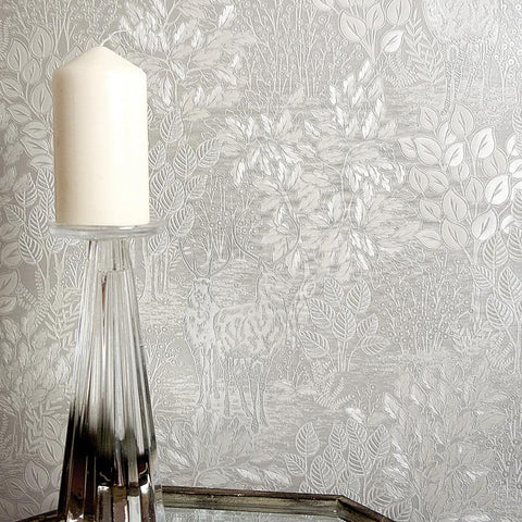 Majella Silver Woodland Wallpaper
