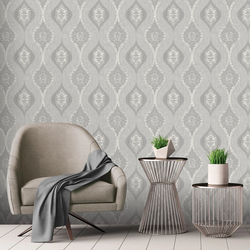 Silver grey abstract ogee wallpaper in room