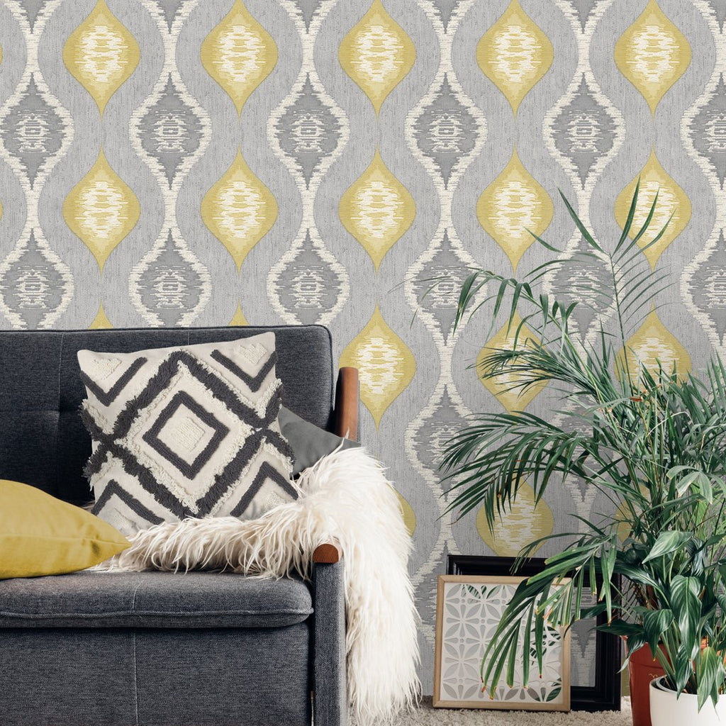 Grey and yellow abstract ogee pattern wallpaper in room