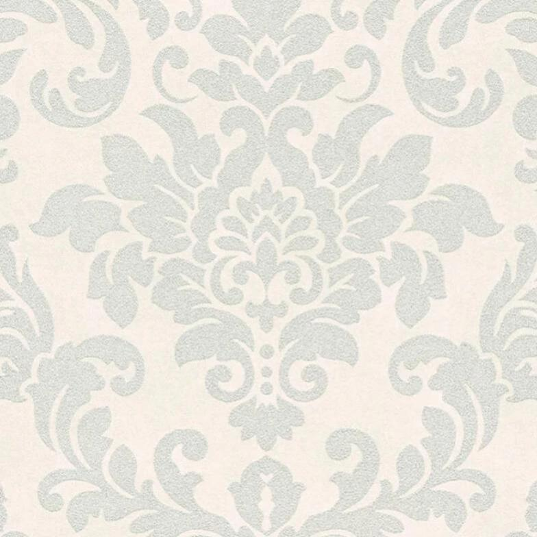Diamonds White and Silver Glitter Damask Wallpaper