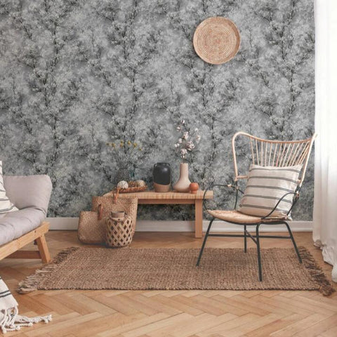 New Walls Grey Glitter Blossom Trees Wallpaper