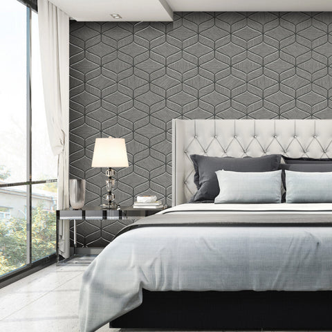Charcoal grey luxury geometric wallpaper in bedroom