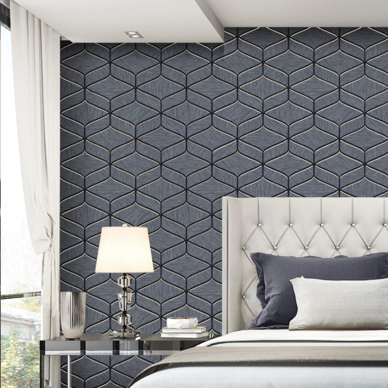 Navy blue luxury geometric wallpaper in bedroom