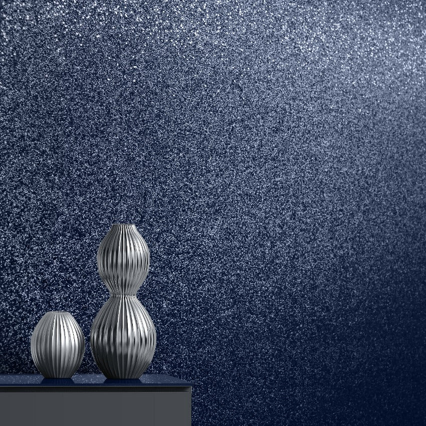 Oriah Midnight Blue Glitter Wallpaper