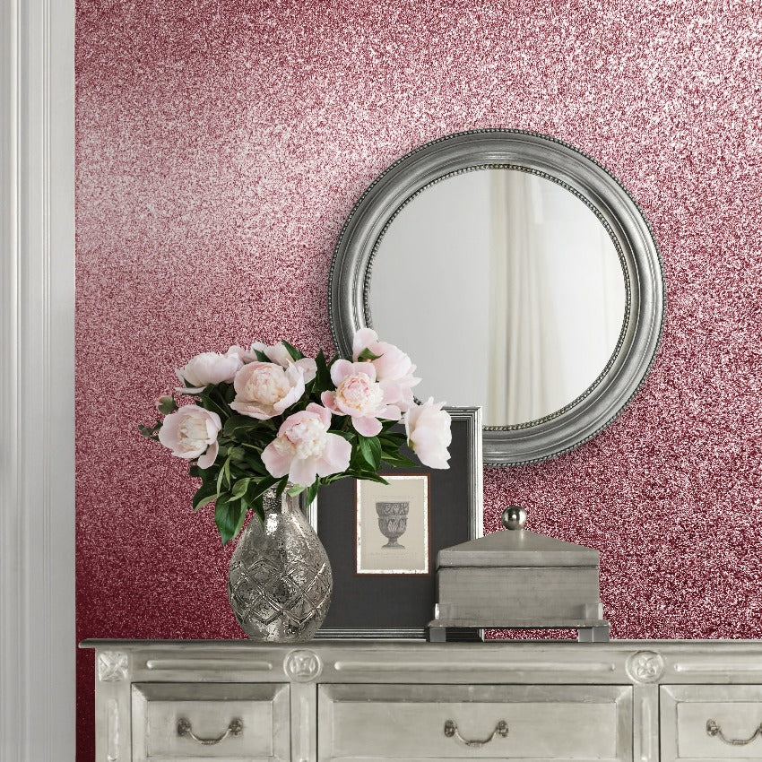 Real pink glitter wallpaper in bedroom
