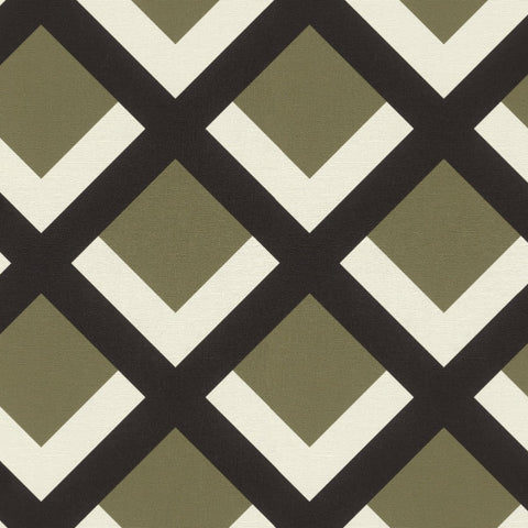 Selection Vinyl VI Green / Black Geometric Wallpaper