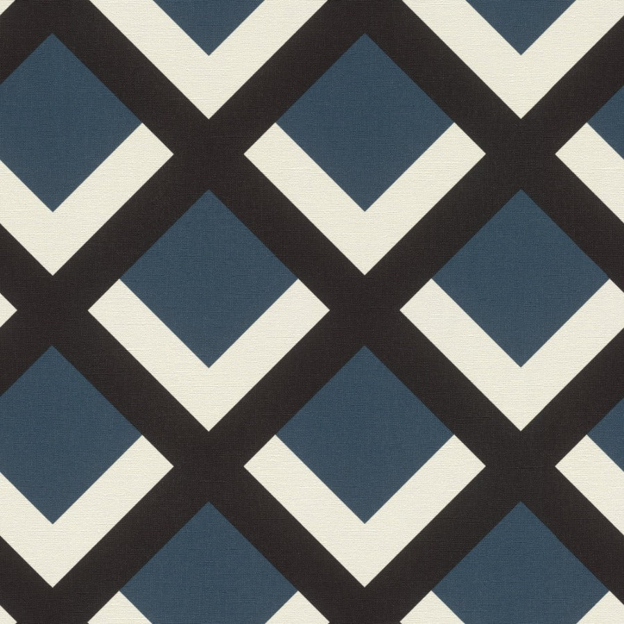 Selection Vinyl VI Navy / Black Geometric Wallpaper