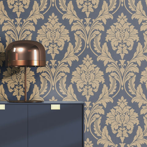 Glam Damask Blue and Gold Wallpaper