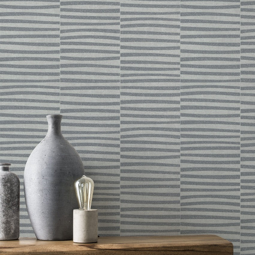 Glam Horizontal Stripe Grey Wallpaper