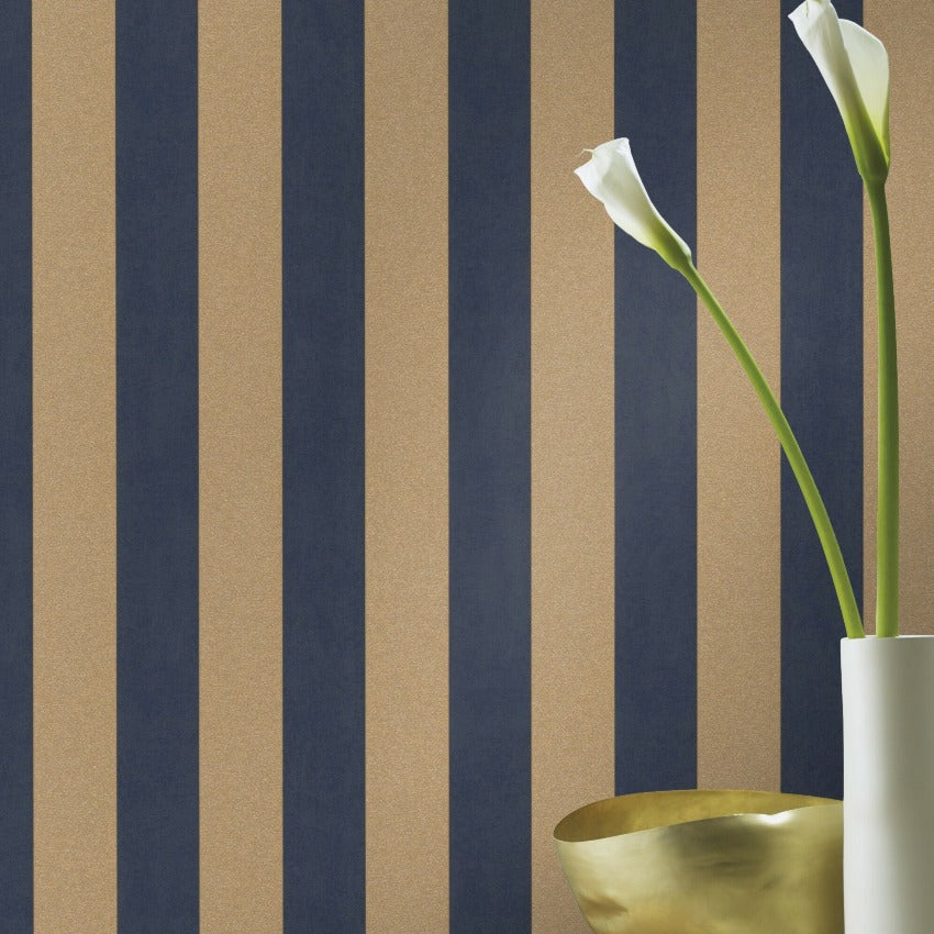 Glam Stripe Blue and Gold Wallpaper