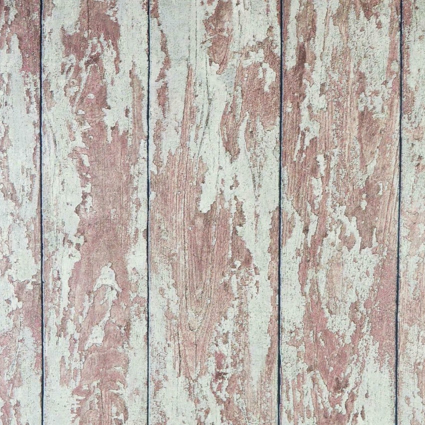 Distressed Brown/Red Wood Panel Wallpaper
