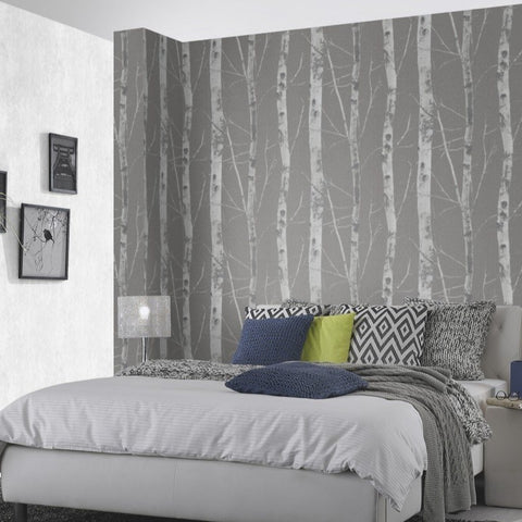 Instawalls Birch Tree Charcoal Wallpaper