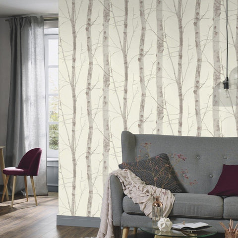 Instawalls Birch Tree Light Brown Wallpaper