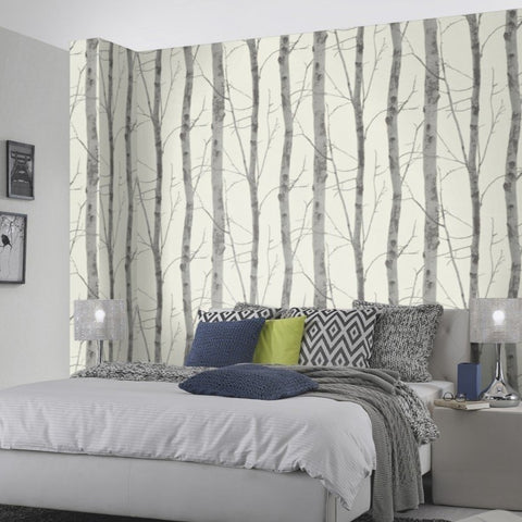 Instawalls Birch Tree White / Grey Wallpaper