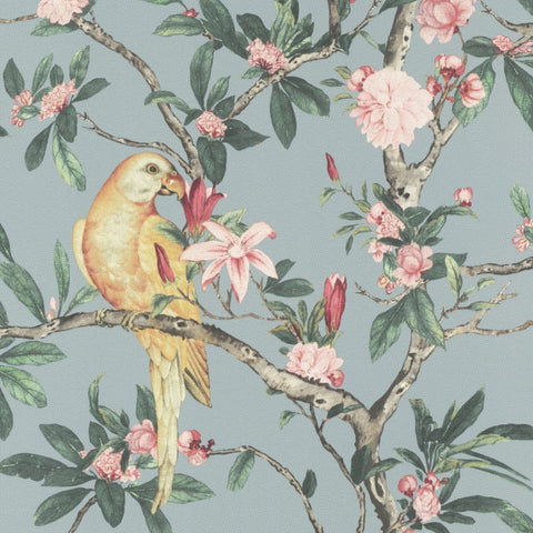 Poetry II Blue Parrot Floral Wallpaper