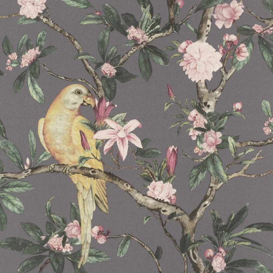 Poetry II Grey Parrot Floral Wallpaper