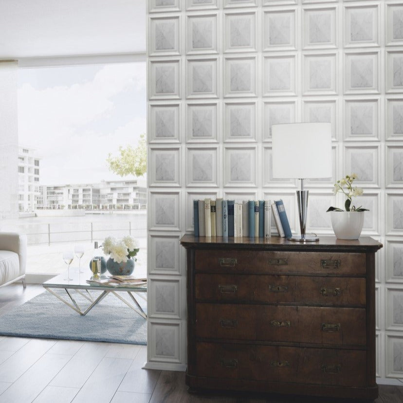 Imitations Grey Marble Wood Panel Wallpaper