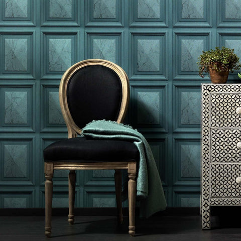 Imitations Teal Blue Marble Wood Panel Wallpaper