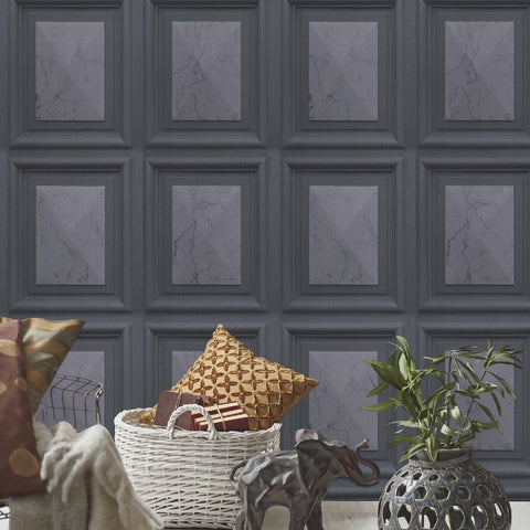 Imitations Charcoal Marble Wood Panel Wallpaper