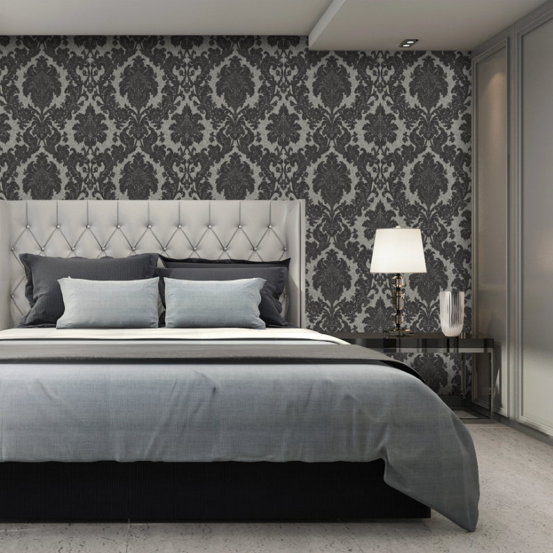 San Remo Damask Charcoal Wallpaper
