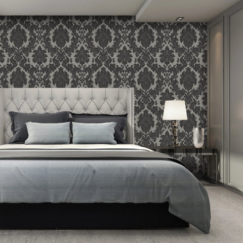 Black silver and grey damask wallpaper in bedroom
