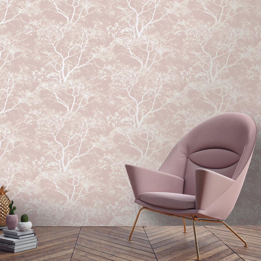 White and pink trees wallpaper in room