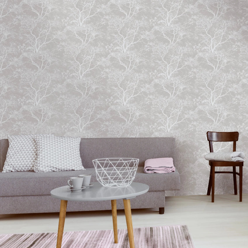 White and grey trees wallpaper in living room