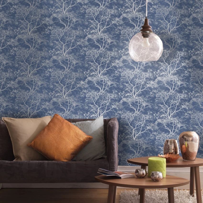 Grey and blue trees wallpaper in lounge room